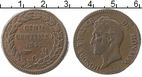 Изображение Монеты Монако 5 сентим 1837 Медь XF Оноре V