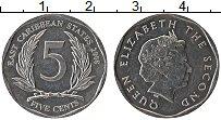 Изображение Монеты Карибы 5 центов 2008 Алюминий UNC- Елизавета II