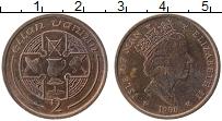 Изображение Монеты Остров Мэн 2 пенса 1990 Медь XF Елизавета II.