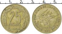 Изображение Монеты Центральная Африка 25 франков 1982 Латунь XF
