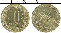 Изображение Монеты Центральная Африка 10 франков 1983 Латунь XF Антилопы