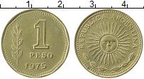 Изображение Монеты Аргентина 1 песо 1975 Латунь XF