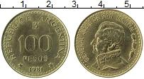 Изображение Монеты Аргентина 100 песо 1981 Латунь XF Генерал Хосе де Сан-