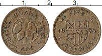 Изображение Монеты Гана 5 песев 1975 Медно-никель XF Бобы