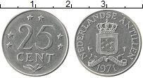 Изображение Монеты Антильские острова 25 центов 1971 Медно-никель XF Герб