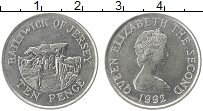 Изображение Монеты Остров Джерси 10 пенсов 1992 Медно-никель XF Елизавета II.
