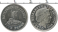 Изображение Монеты Остров Джерси 5 пенсов 2008 Медно-никель UNC-