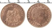 Изображение Монеты Остров Джерси 2 пенса 2008 Медь UNC- Елизавета II.