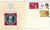 Изображение Подарочные монеты Папуа-Новая Гвинея 10 кина 1977 Серебро Proof 25 лет правления Ели