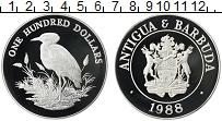 Изображение Монеты Северная Америка Антигуа и Барбуда 100 долларов 1988 Серебро Proof