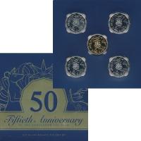 Изображение Подарочные монеты Австралия 50 центов 2019 Медно-никель UNC Набор посвящен 50-ле