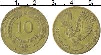 Изображение Монеты Чили 10 сентесим 1966 Латунь XF