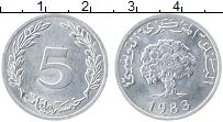 Изображение Монеты Тунис 5 миллим 1983 Алюминий UNC-