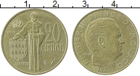 Изображение Монеты Монако 20 сантим 1982 Латунь XF+ Ренье III