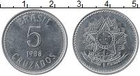 Изображение Монеты Бразилия 5 крузадо 1988 Медно-никель UNC-