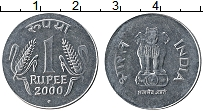 Изображение Монеты Индия 1 рупия 2000 Железо UNC- Герб
