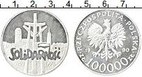 Изображение Монеты Польша 100000 злотых 1990 Серебро Proof- 10 лет независимому