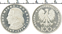 Изображение Монеты Польша 100 злотых 1976 Серебро Proof- Казимир Пулавский