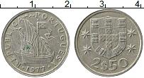 Изображение Монеты Португалия 2 1/2 эскудо 1977 Медно-никель XF Корабль