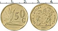 Изображение Монеты ЮАР 50 центов 1991 Латунь XF Флора