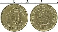 Изображение Монеты Финляндия 10 пенни 1980 Латунь XF Герб