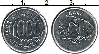 Изображение Монеты Бразилия 1000 крузейро 1993 Медно-никель UNC-