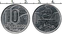 Изображение Монеты Бразилия 10 крузейро 1991 Медно-никель UNC-