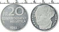 Изображение Монеты Швейцария 20 франков 1993 Серебро UNC-