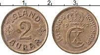 Изображение Монеты Исландия 2 аурар 1942 Медь VF