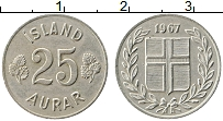 Изображение Монеты Исландия 25 аурар 1967 Медно-никель XF Герб