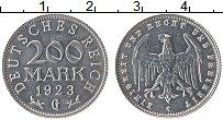 Изображение Монеты Веймарская республика 200 марок 1923 Алюминий XF