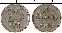Изображение Монеты Швеция 25 эре 1943 Серебро VF Густав V