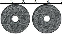 Изображение Монеты Франция 20 сантим 1946 Цинк XF Отверстие