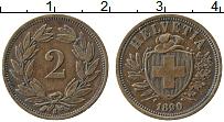 Изображение Монеты Швейцария 2 раппа 1890 Медь XF Герб
