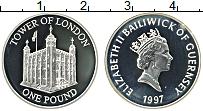 Изображение Монеты Гернси 1 фунт 1997 Серебро Proof Елизавета II. Тауэр,