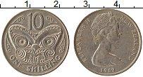 Изображение Монеты Новая Зеландия 1 шиллинг 1969 Медно-никель UNC- Елизавета II