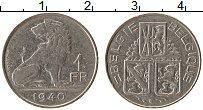 Изображение Монеты Бельгия 1 франк 1940 Медно-никель XF