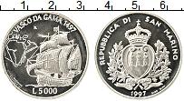 Изображение Монеты Сан-Марино 5000 лир 1997 Серебро Proof-