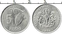 Изображение Монеты Нигерия 5 кобо 1974 Медно-никель UNC-