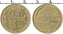 Изображение Монеты Италия 200 лир 1996 Латунь UNC- 100 лет Академии фин