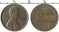 Изображение Монеты США 1 цент 1972 Бронза XF Авраам Линкольн