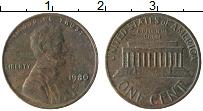 Изображение Монеты США 1 цент 1980 Бронза XF Авраам Линкольн