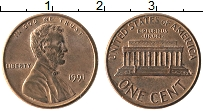 Изображение Монеты США 1 цент 1991 Бронза XF Линкольн