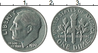 Изображение Монеты США 1 дайм 1970 Медно-никель XF Теодор Рузвельт.