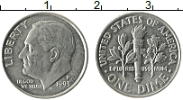 Изображение Монеты США 1 дайм 1993 Медно-никель XF Теодор Рузвельт. P