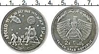 Изображение Монеты Йемен 2 риала 1969 Серебро UNC Аполло 11.Высадка на