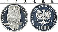 Изображение Монеты Польша 1000 злотых 1986 Серебро Proof- Охрана окружающей ср