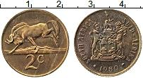 Изображение Монеты ЮАР 2 цента 1980 Бронза XF