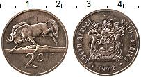 Изображение Монеты ЮАР 2 цента 1972 Бронза XF