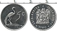 Изображение Монеты ЮАР 5 центов 1980 Медно-никель XF